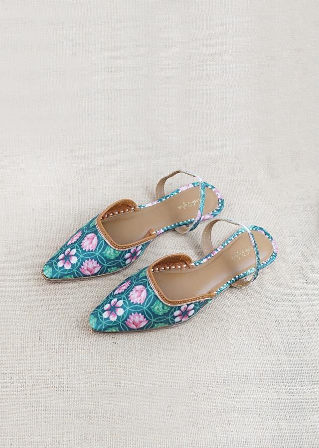 Green Mules With Back Strap Featuring Kamal Print And Braided Rose Gold Zari By Vareli Bafna