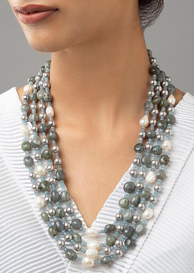 Green Multi Layered Necklace With Freshwater Pearls, Shell Pearls And Green Jades Online - Joules By Radhika