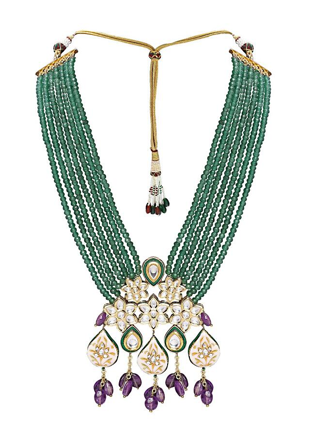 Green Necklace Set With Bead Strings And Polki Pendant Adorned With Amethyst Online - Joules By Radhika