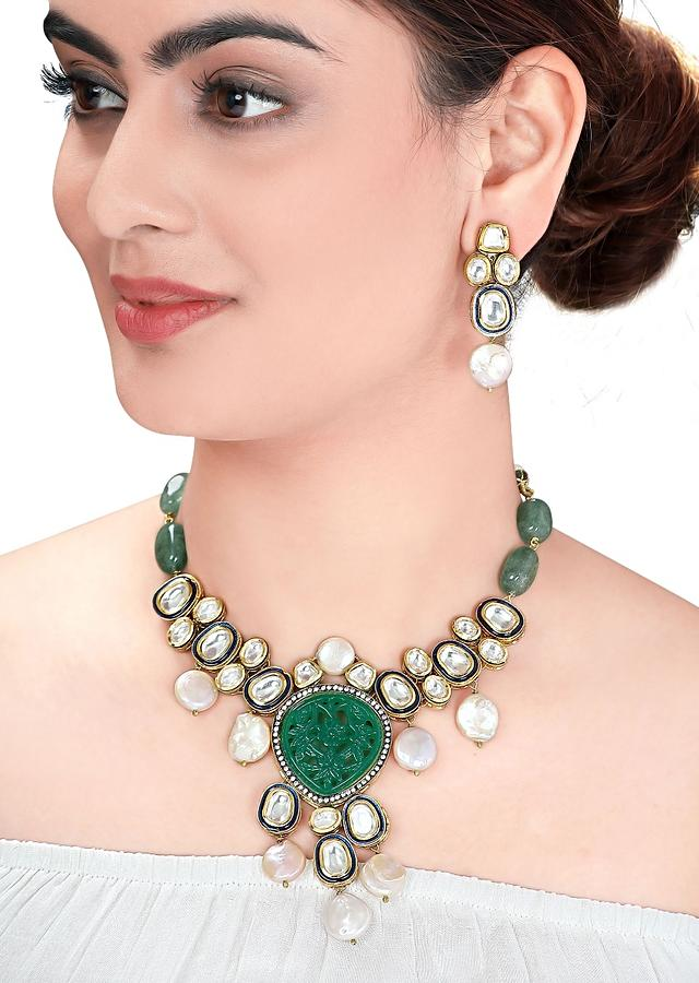 Green Necklace Set With Green Agate Beads, Baroque Pearls And Polki Online - Joules By Radhika