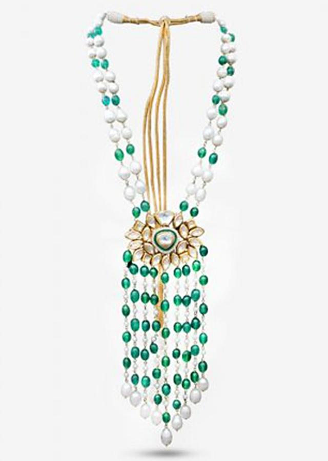 Green Necklace With A Kundan Centrepiece, Tassel Detailing And An Elegant Mix Of Pearl And Green Beads By Prerto