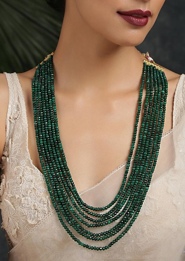 Green Necklace With Multiple Strands Of Onyx Beads By Paisley Pop