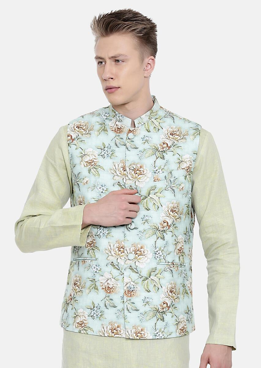 Green Nehru Jacket In Linen With Floral Print All Over By Mayank Modi