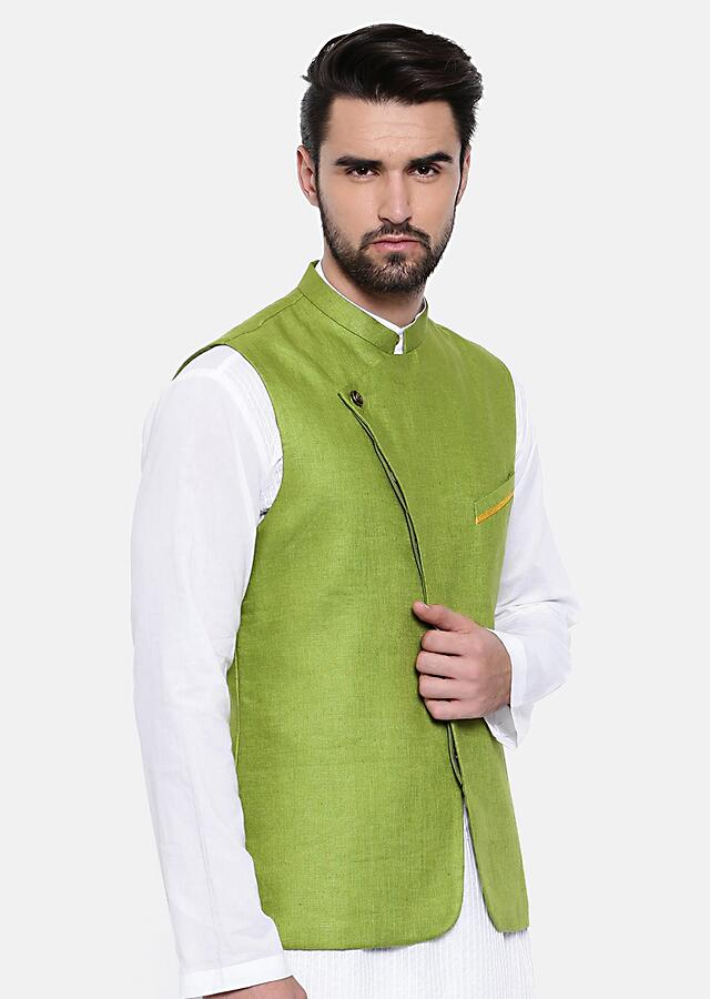 Green Nehru Jacket In Linen With Subtle Yellow Details On The Pocket By Mayank Modi