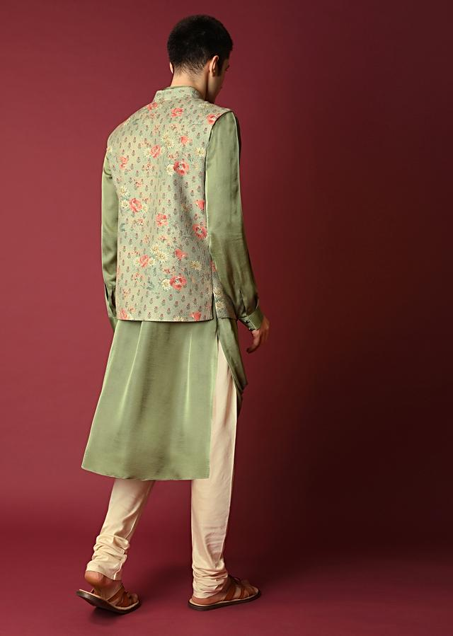 Green Nehru Jacket Set With Floral Print And Running Thread Embroidery Along With Cowl Kurta Online - Kalki Fashion