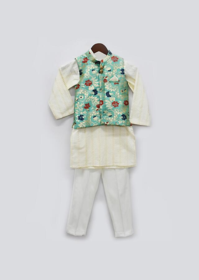 Green Nehru Jacket With Floral Brocade Jaal And Off White Self Design Kurta Set By Fayon Kids