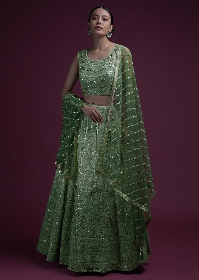 Green Ombre Lehenga In Georgette With Lucknowi Embroidered Floral Kalis And Mirror Embellished Crop Top Online - Kalki Fashion