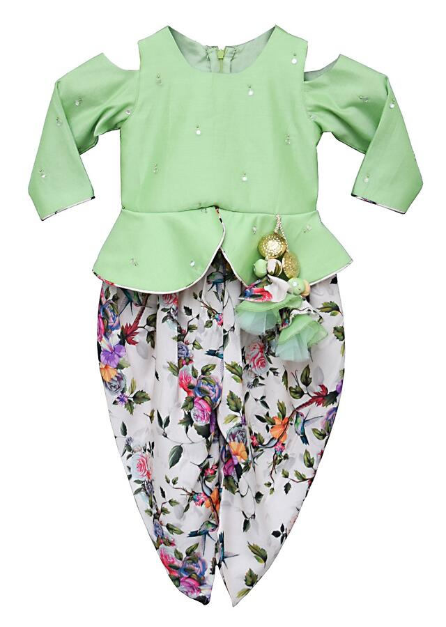 Green Peplum Top With Mirror Buttis And White Floral Printed Dhoti By Fayon Kids