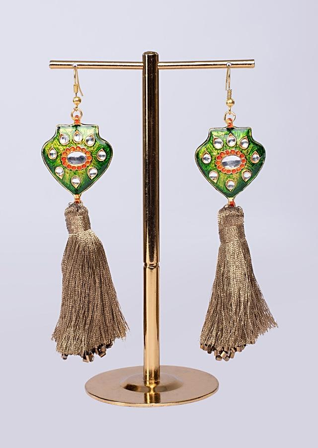 Green Polki Jadau Earring With Resham Tassel Online - Kalki Fashion