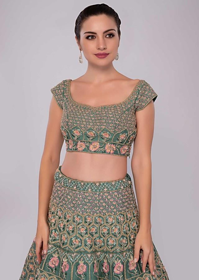 Green Raw Silk Lehenga Set In Temple And Geometric Embroidery Only On Kalki Online - Kalki Fashion