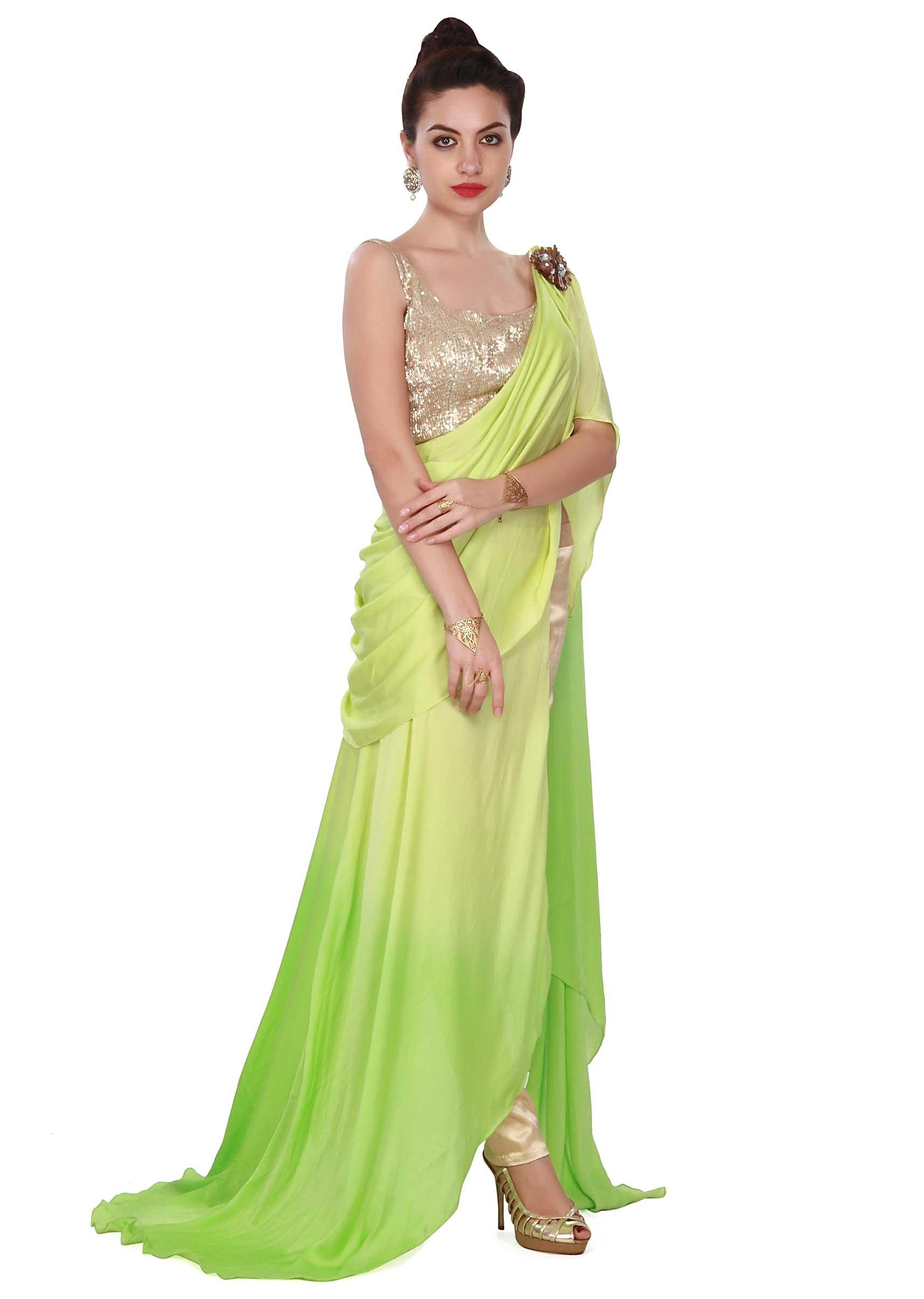 Green Saree Gown Adorn In Sequin And Cowl Drape On Kalki