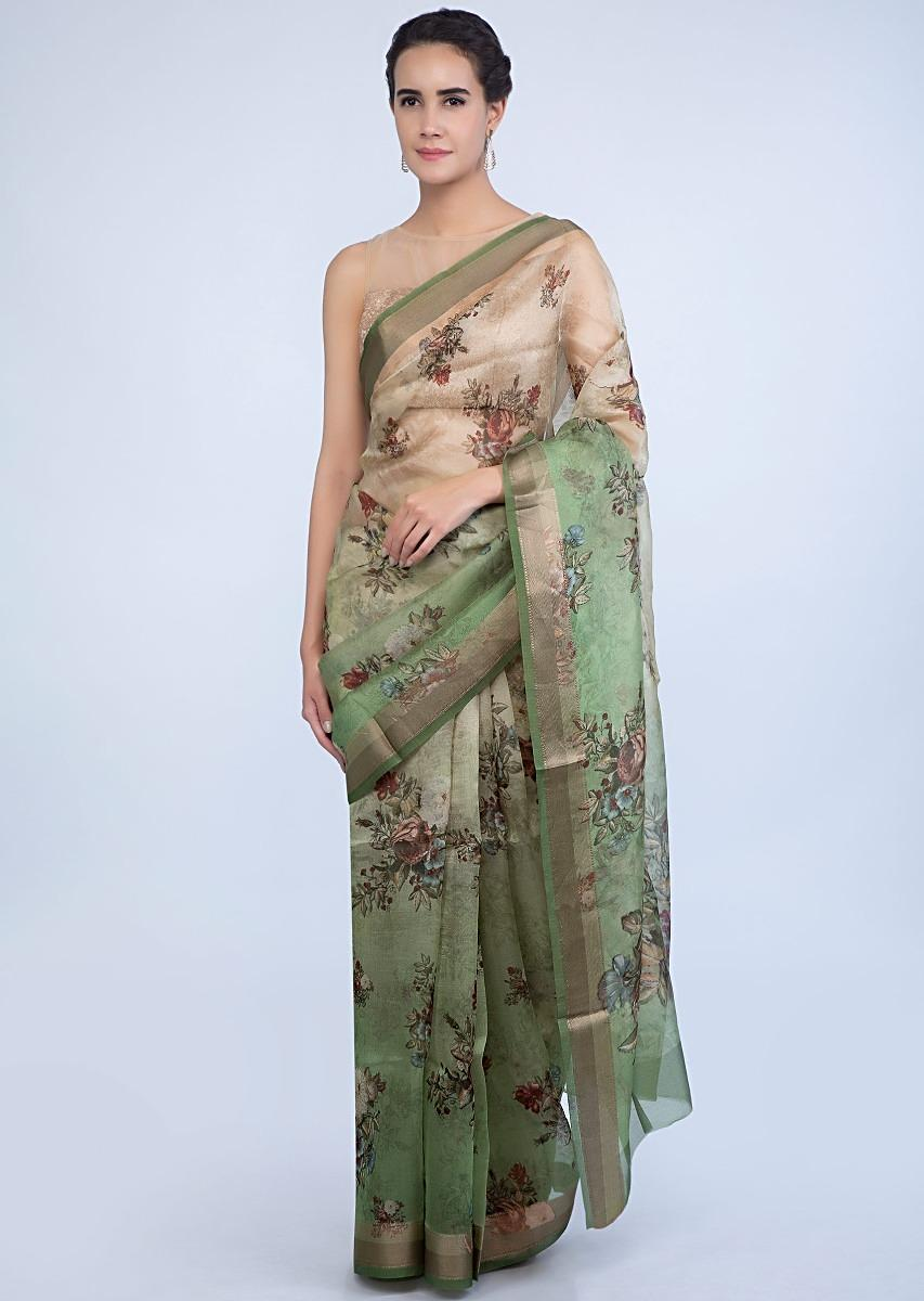 09cc5f9b4b Green shaded organza saree in floral digital print only on KalkiMore Detail