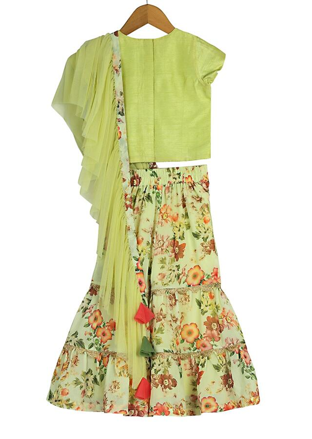 Green Sharara Set With Floral Print And Attached Ruffle Dupatta Online - Free Sparrow