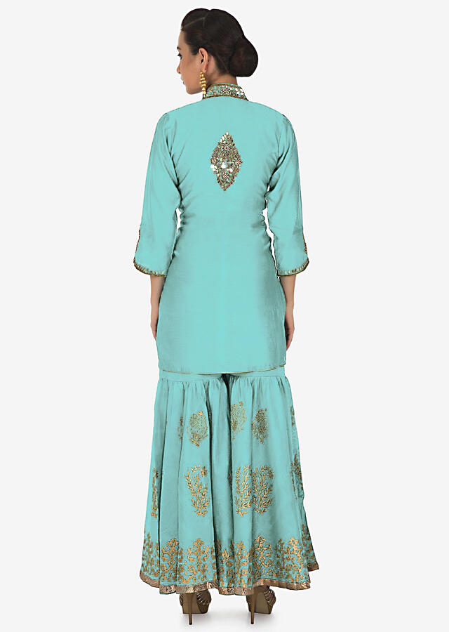 Featuring Sharara Suit In Turq With Kundan And Zari Embroidered Placket And Butti Online - Kalki Fashion