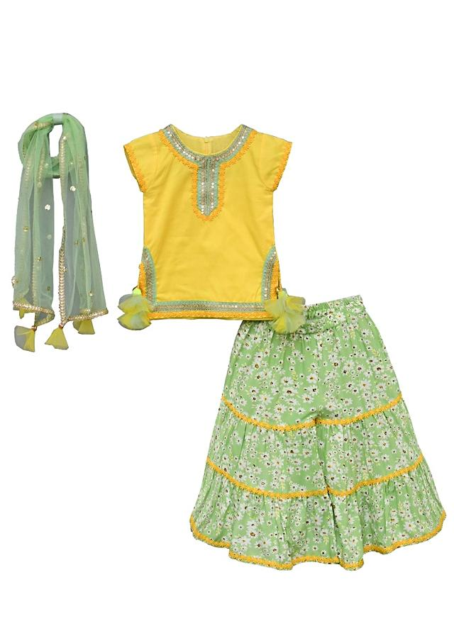 Green Sharara Suit With Floral Print And Yellow Kurta By Fayon Kids