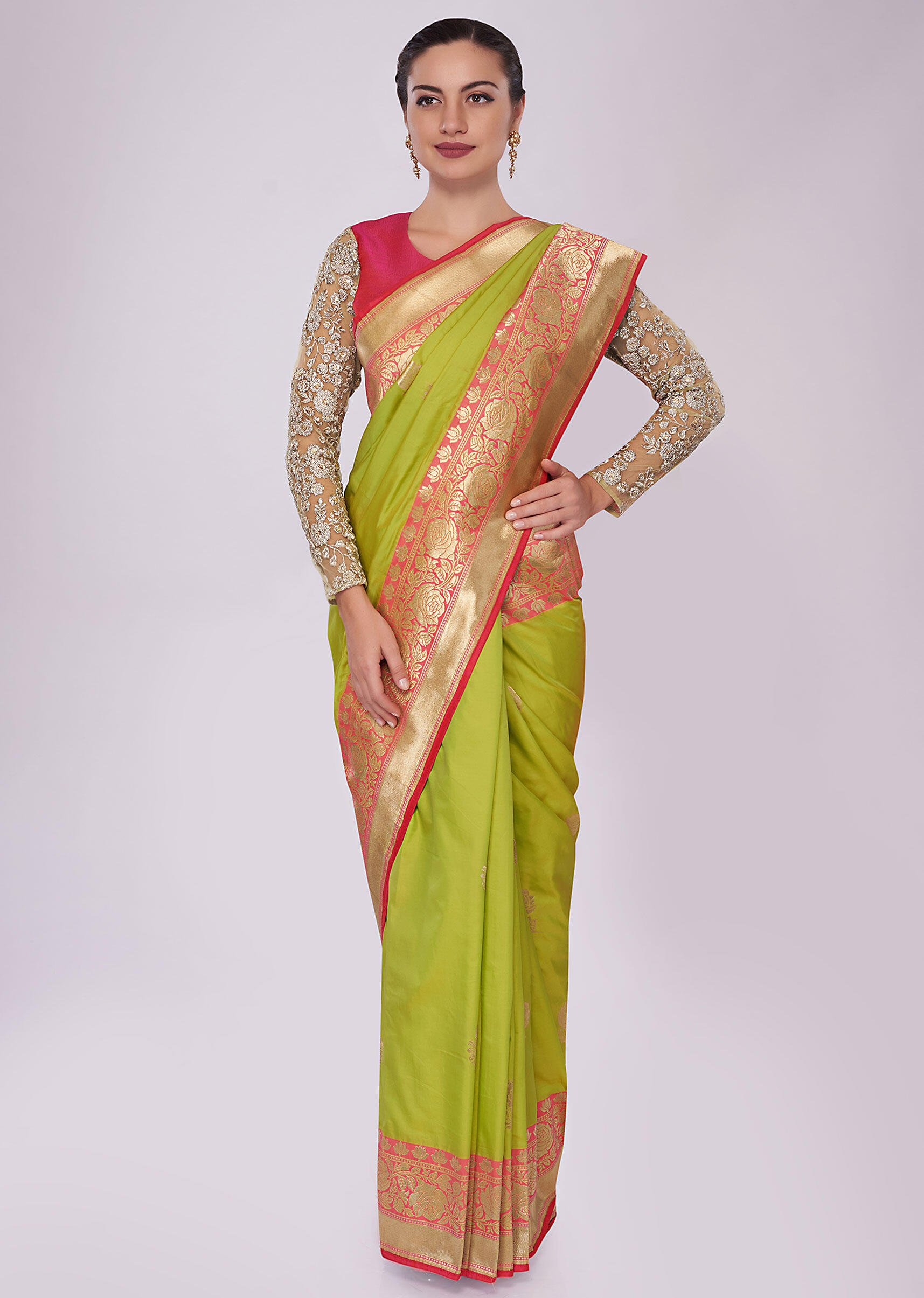 763b45cee31a88 Green silk saree with weaved butti and brocade border only on Kalki