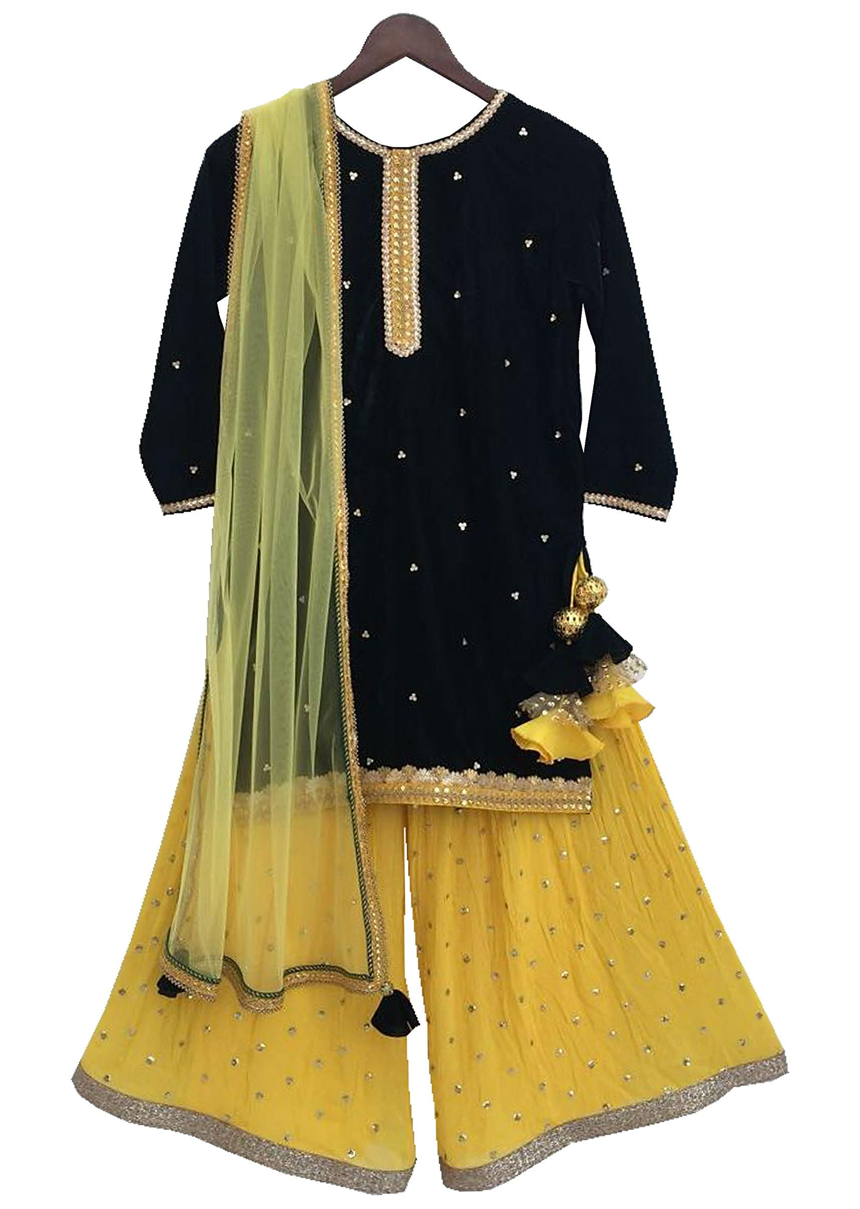 abdab77f7 Green Velvet Kurti with Yellow Sequence Boori Georgette Sharara by Fayon  Kids