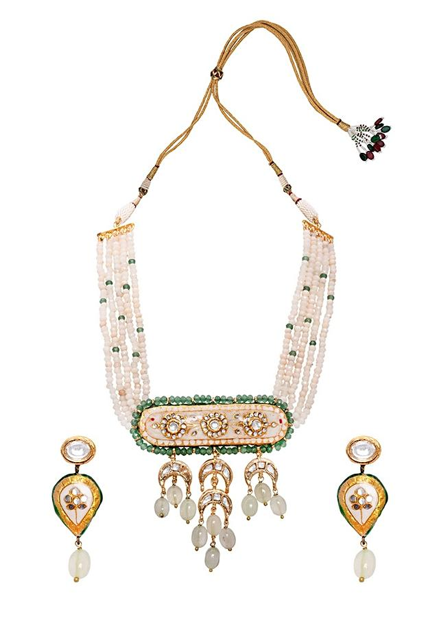 Green And White Beaded Meenkari Necklace Set With Kundan Polki, Jades And Agate Beads Joules By Radhika
