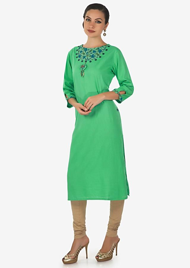 Green Kurti In With Fancy Neckline In Buttons And Tassel Online - Kalki Fashion
