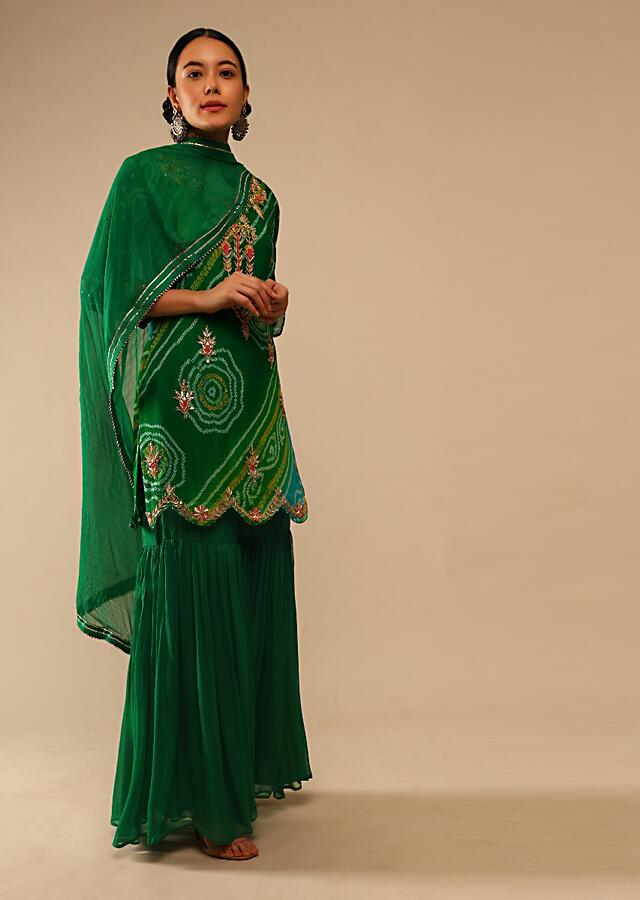 Green And Blue Shaded Sharara Suit In Georgette With Bandhani Print And Gotta Embroidery Online - Kalki Fashion