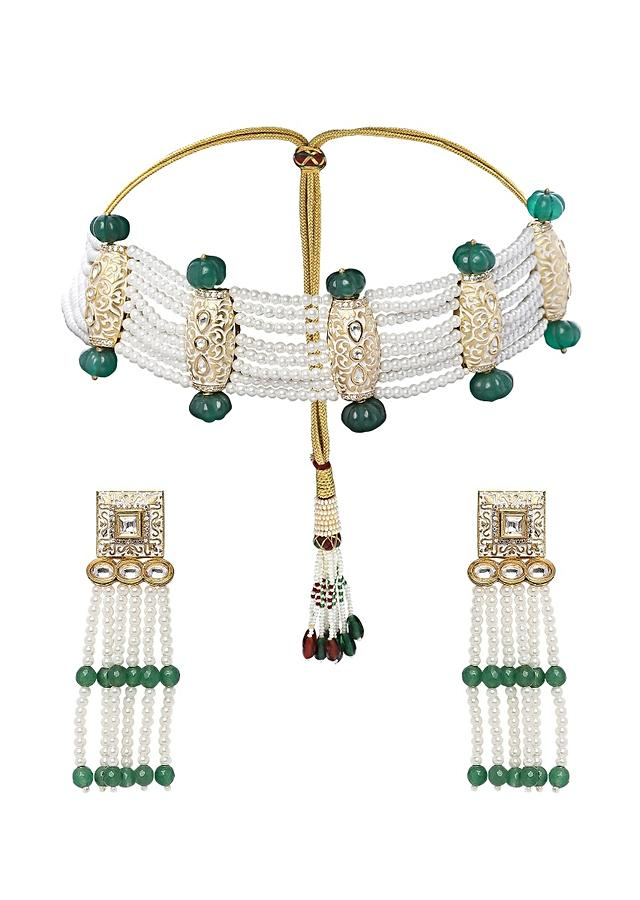 Green Choker Necklace Set With Shell Pearl Strings, Green Onyx Beads And Polki Online - Joules By Radhika