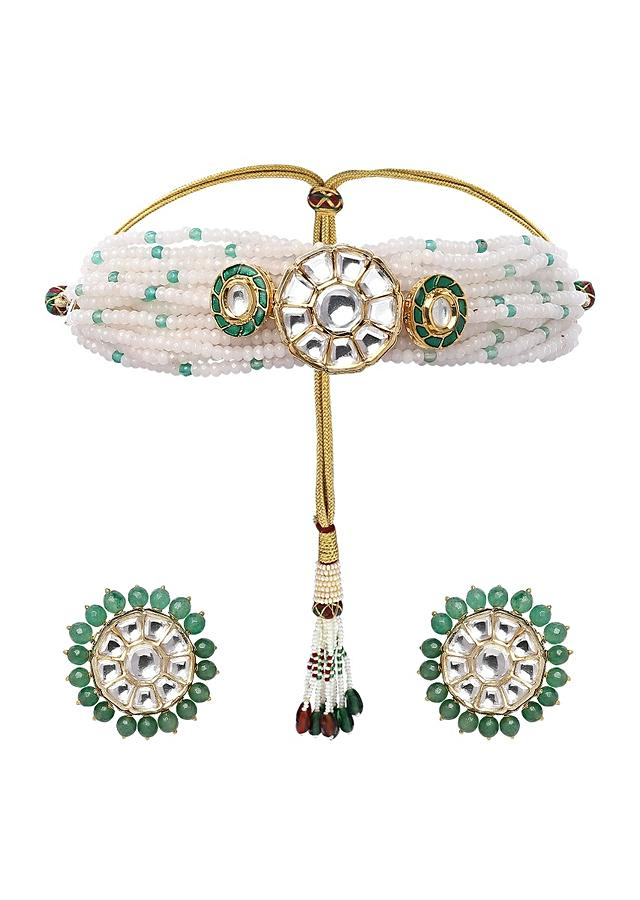 Green Choker Set With Agate Beads, Jades And Polki Online - Joules By Radhika