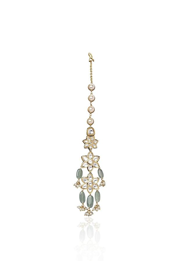 Green Maang Tikka Designed With Imitation Polki, Pearls And Jade Online - Joules By Radhika