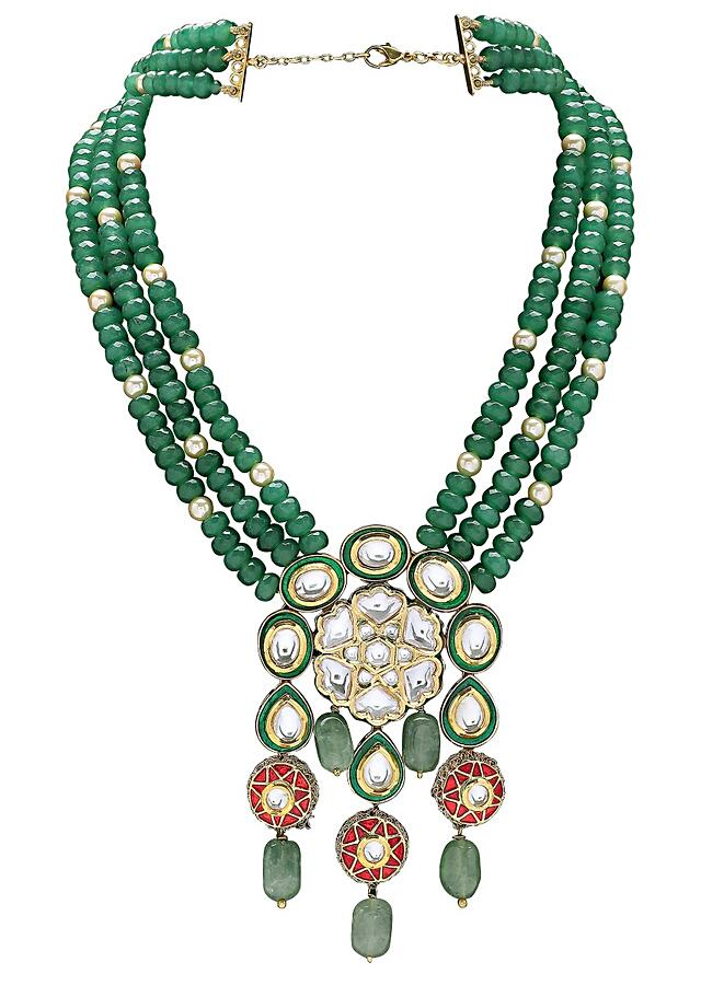 Green Necklace With Agate Beads And Polki Pendant With Green And Red Meenakari Online - Joules By Radhika