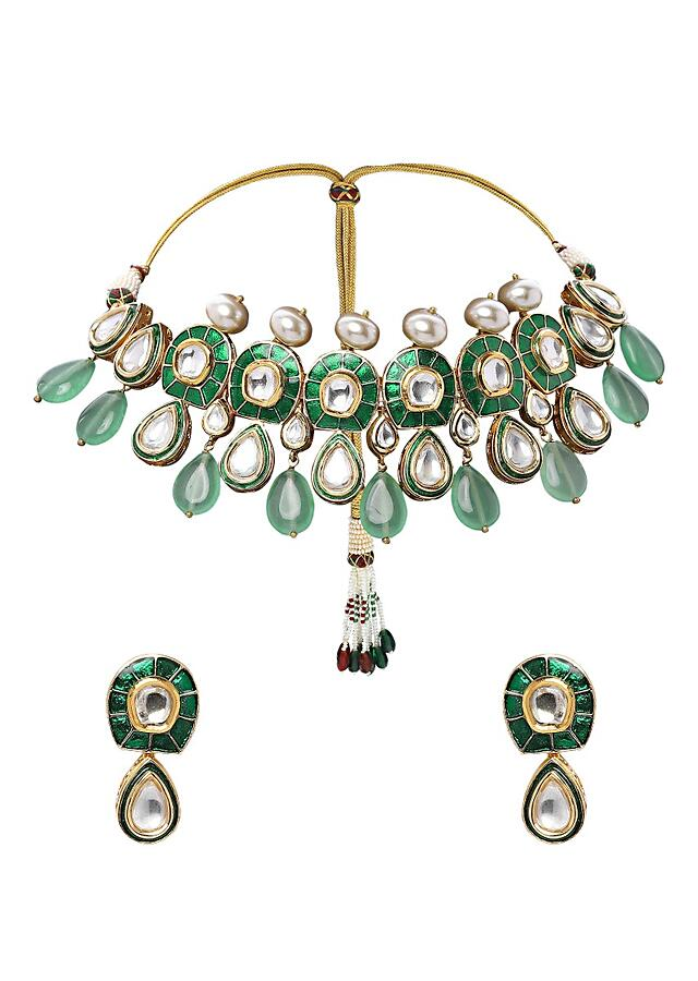 Green Polki Choker Necklace Set With Meenakari, Green Jades And Shell Pearls Online - Joules By Radhika