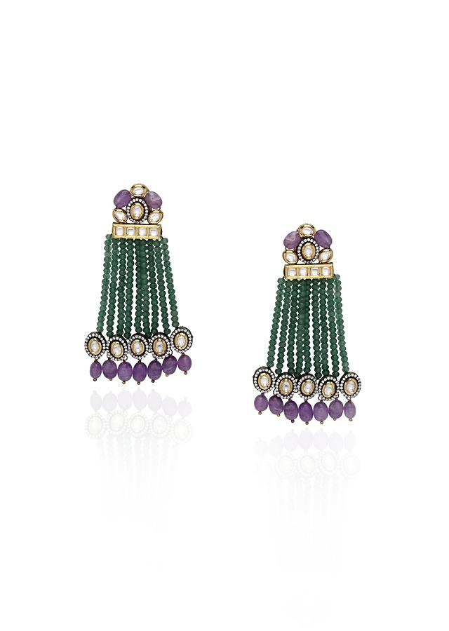 Green Polki Earrings With Green Agate Bead Strings And Jade Online - Joules By Radhika
