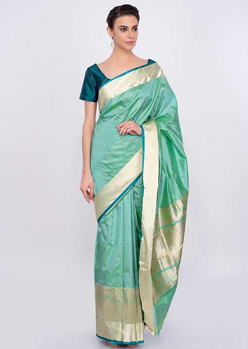 8f0761277c9eb Greenish blue chanderi silk saree with brocade border only on Kalki