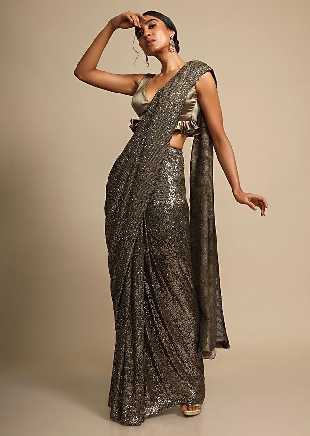 Greenish Gold Saree In Shimmer Sequins Fabric With Ready Stitched Peats Online - Kalki Fashion