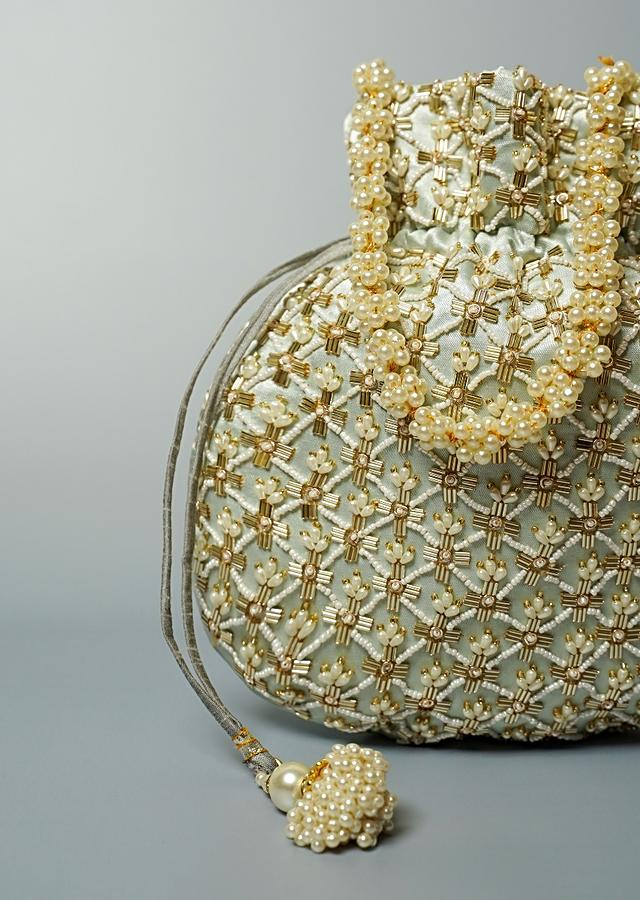 Greenish Grey Potli Bag In Velvet With Cut Dana And Beads Embroidered Jaal Design By Shubham