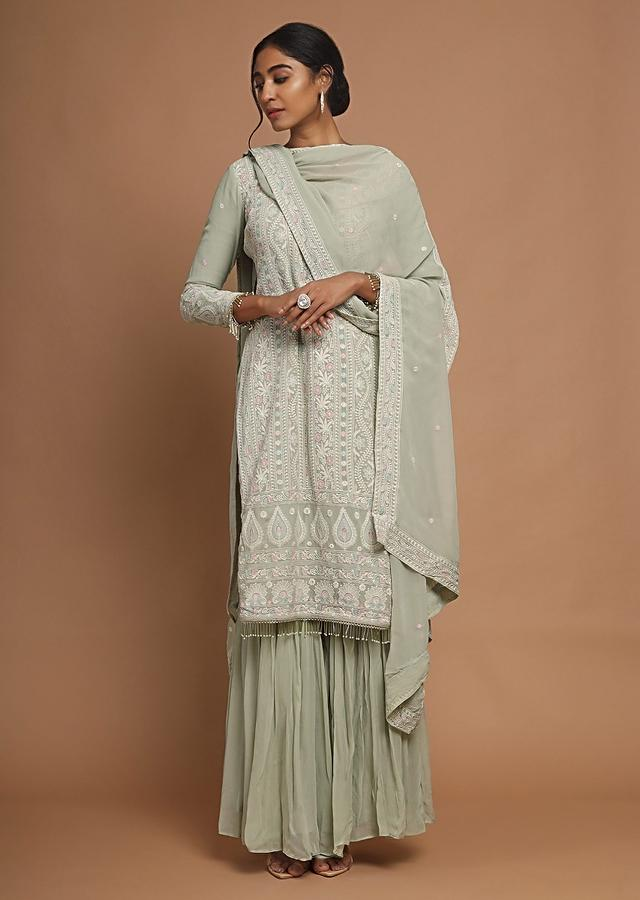 Greenish Grey Sharara Suit With Lucknowi Thread Embroidery And Ruffle Sleeves Online - Kalki Fashion