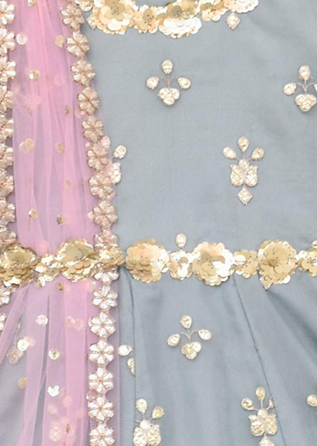 Grey Anarkali Suit With Pink Dupatta by Fayon Kids