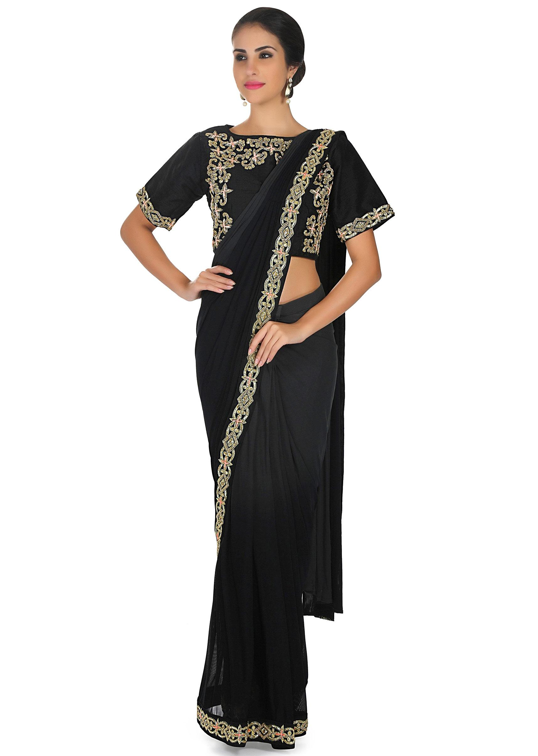 2f0645d90d896c Grey and black pre stitched saree with coral ready embroidered blouse only  on KalkiMore Detail
