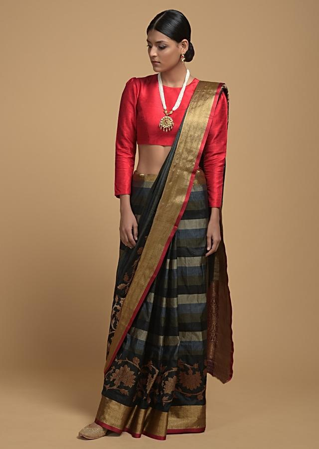 Grey And Black Striped Pure Handloom Saree In Tussar Silk With Woven Floral Border Online - Kalki Fashion