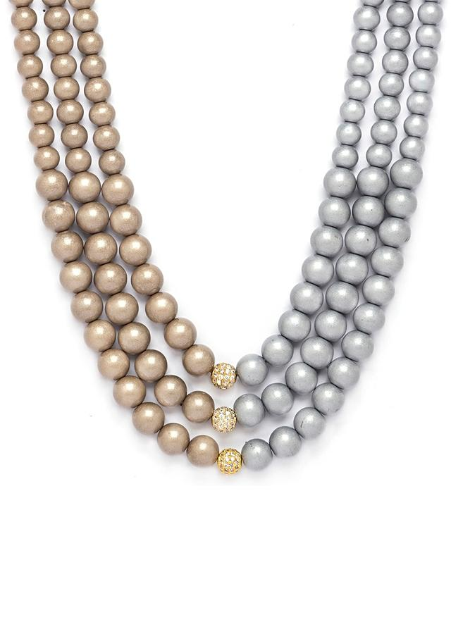Grey And Brown Dual Toned Necklace With Shell Pearls Online - Joules By Radhika