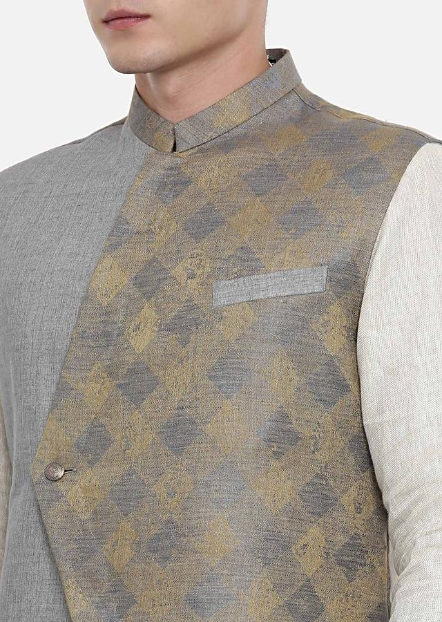 Grey And Gold Nehru Jacket With Checks Pattern On One Side By Mayank Modi