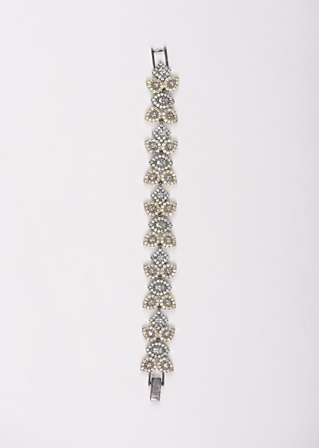 Grey And Gold Plated Bracelet With Stones And Crystals In Square And Leaf Motifs Online - Kalki Fashion