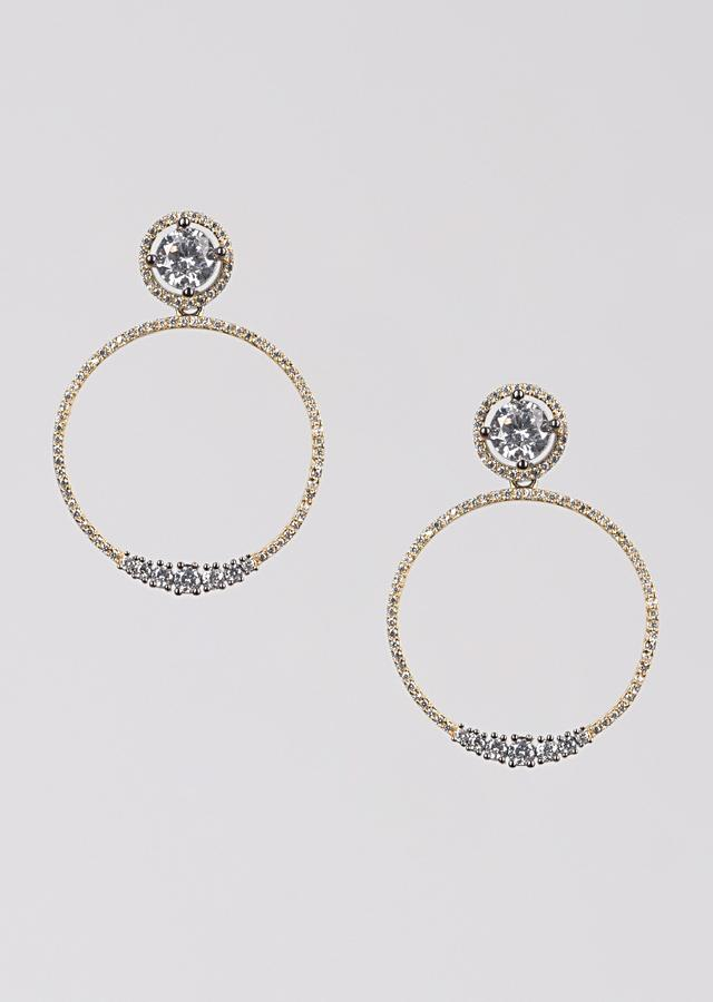 Grey And Gold Plated Earrings With Stones In Round Pattern Online - Kalki Fashion