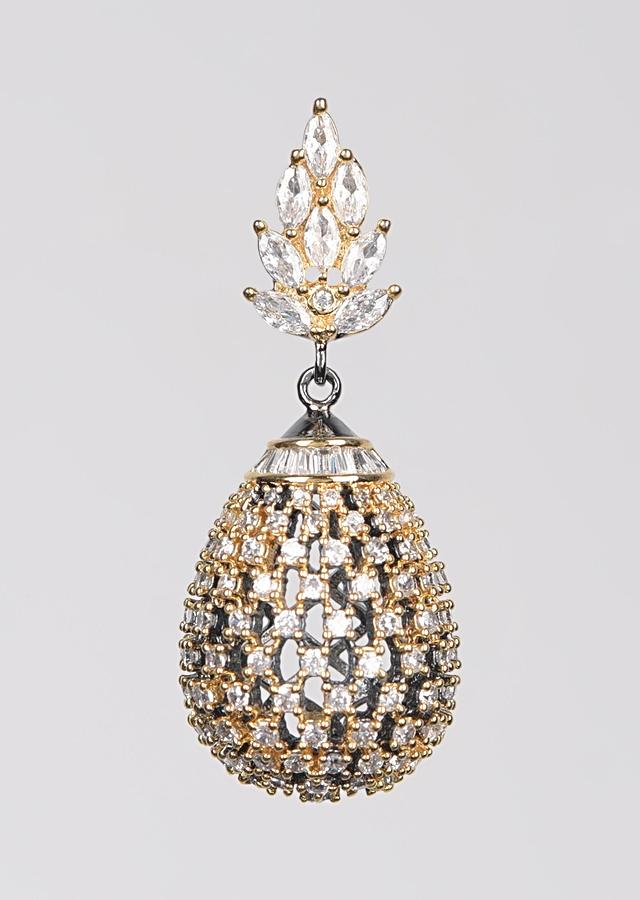 Grey And Gold Plated Earrings With Studded Stones, Crystals And Bugle Beads In Dangling Drop Pattern Online - Kalki Fashion