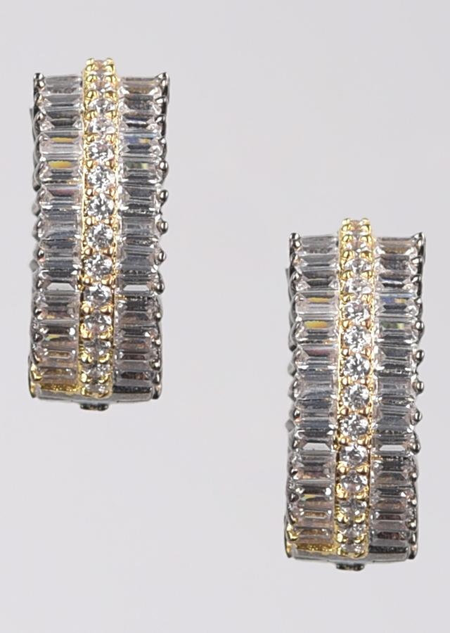 Grey And Gold Plated Hoop Earrings Studded With Stones And Bugle Beads Online - Kalki Fashion