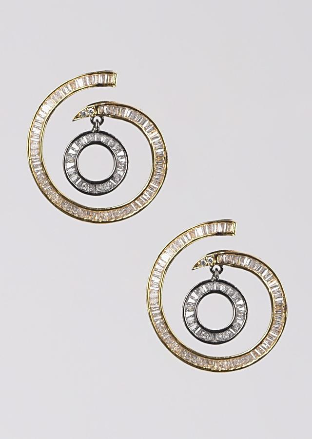 Grey And Gold Plated Studs In Spiral Motif With Dangler And Embellished With Bugle Beads Online - Kalki Fashion