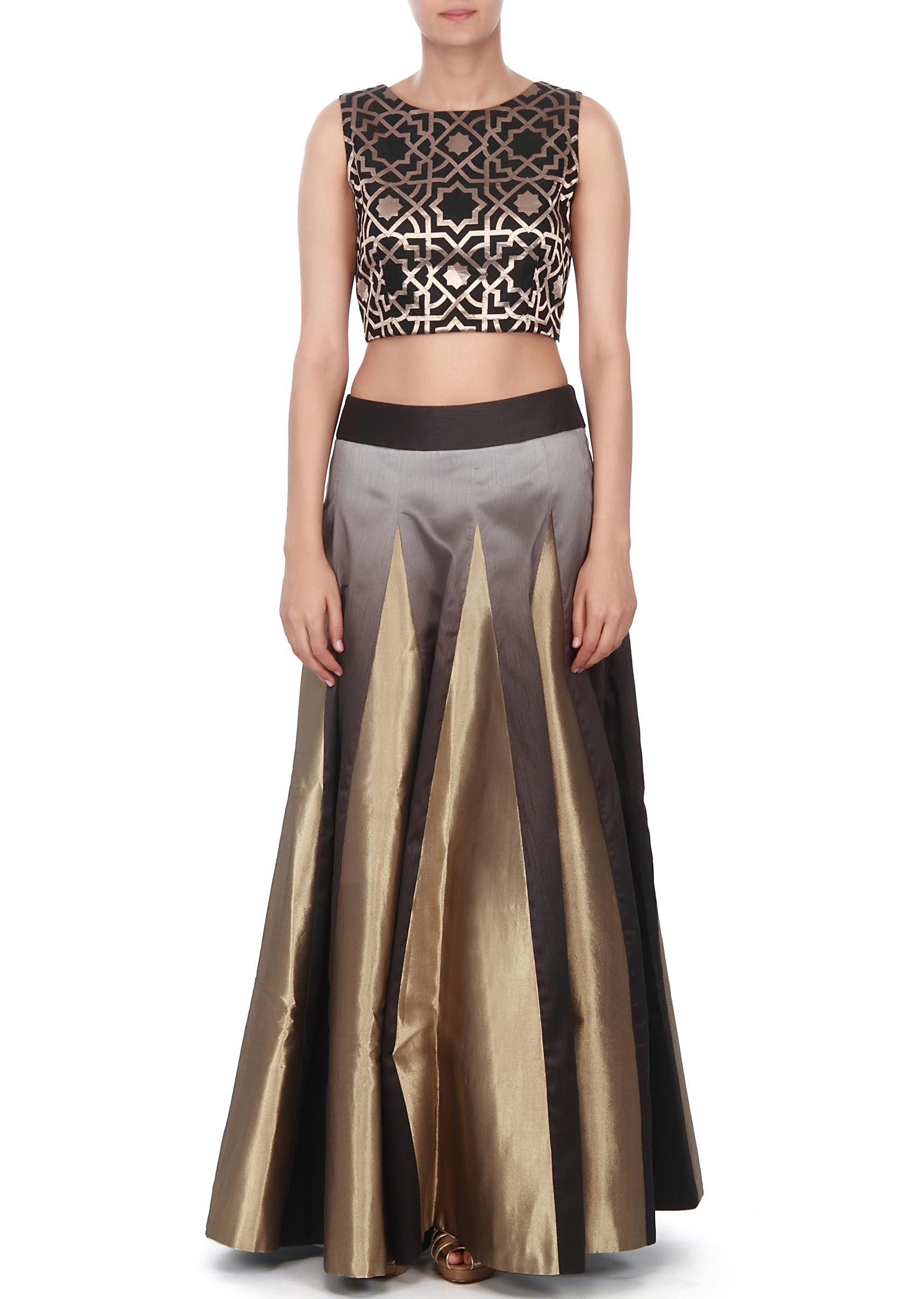 8e13be7f5cb4d Grey and gold skirt with brocade crop top only on KalkiMore Detail