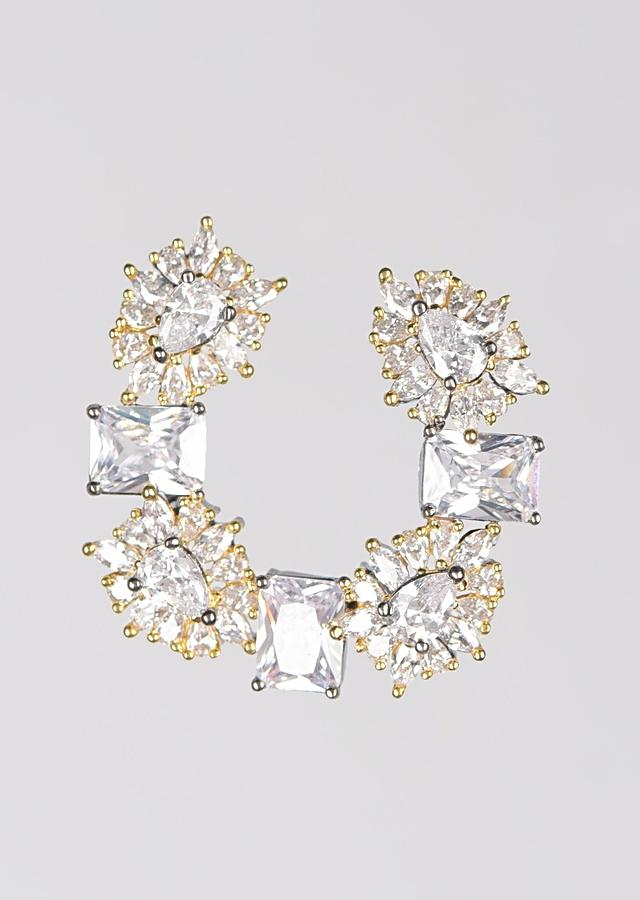 Grey And Gold Studs With Bugle Beads And Crystals In Geometric And Floral Motifs In Crescent Shape Online - Kalki Fashion