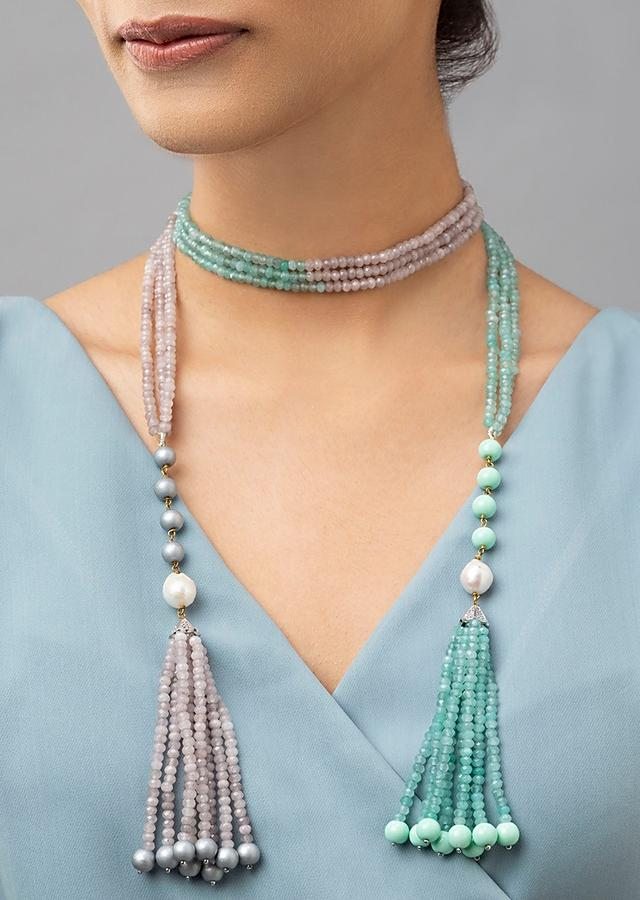 Grey And Green Dual Toned Multi-layered Necklace With Agate Beads, Swarovski And Shell Pearls Online - Joules By Radhika