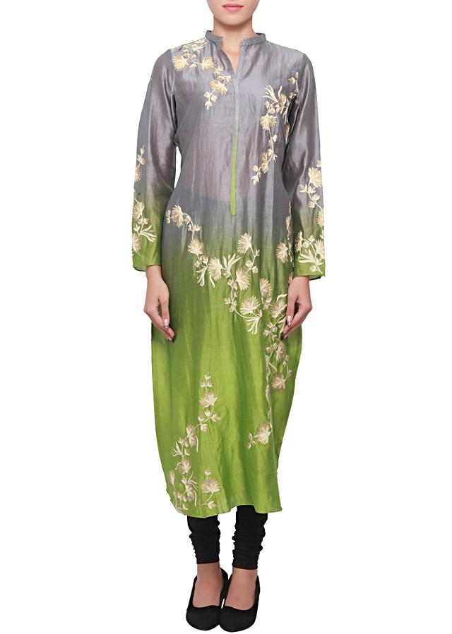 Grey and green, two tone silk kurti with thread and zari embroidery only on kalki