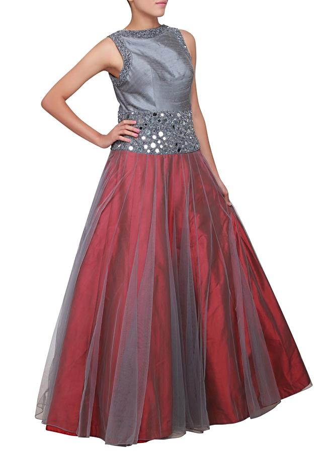 Grey and maroon gown embellished in mirror and sequence only on Kalki