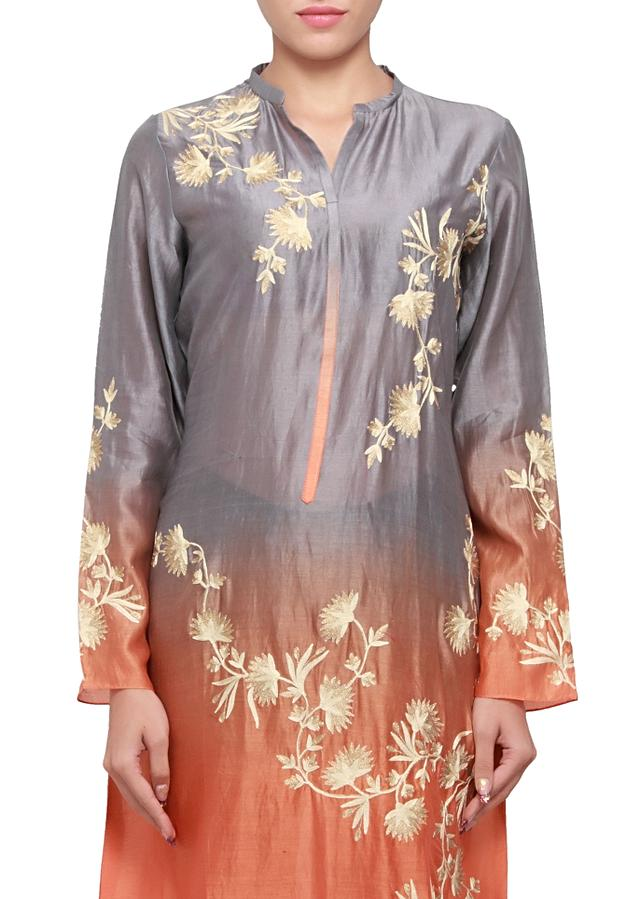 Grey and orange, two tone silk kurti with thread and zari embroidery only on kalki